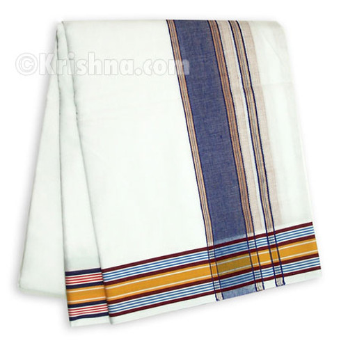 Ekachakra Striped Cotton Dhoti, Blue, Red, & Golden Yellow