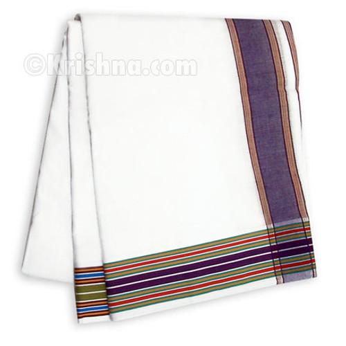 Ekachakra Striped Cotton Dhoti, Green & Purple