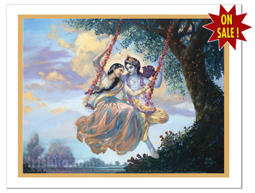 Radha and Krishna on Swing Poster, Small