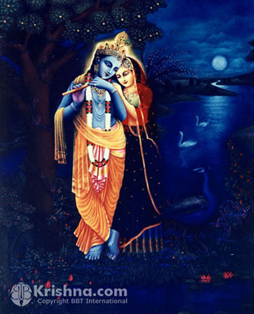 "Radha Krishna at Night Photo Print, 5""x7"""