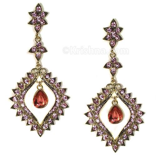 Gandharvika Festival Earrings, Pink & Brass