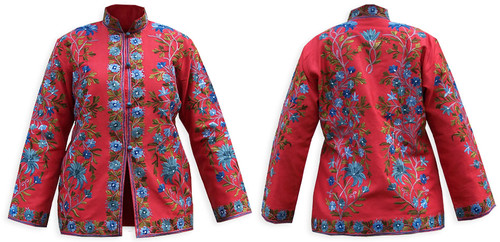 Kashmiri Embroidered Red Silk Jacket, Blue Morning Glory