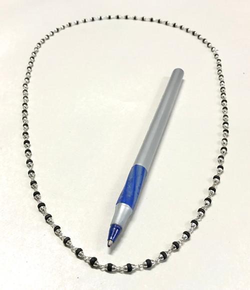 "Black Tulasi & Silver Neck Beads, 24"""