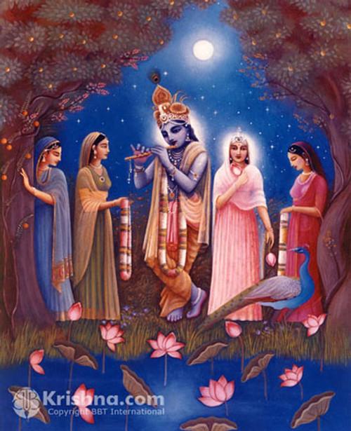 "Krishna & Gopis Under the Moon,  Photo Print, 8""X10"""