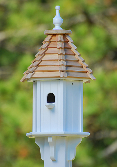 Bird house with cedar shingles