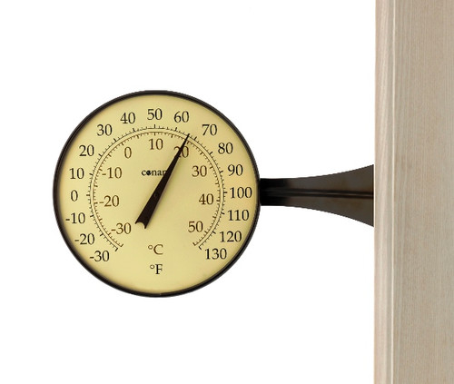Large Dial Thermometer Bronze Patina