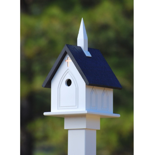 "10"" Church Birdhouse With Black Roof"