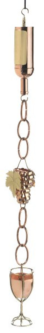 Wine Bottle Copper Rain Chain