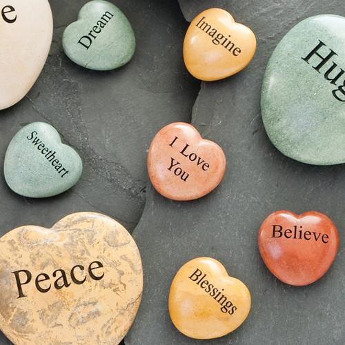 """Jasper Stone Heart Engraved """"Dream"""""""