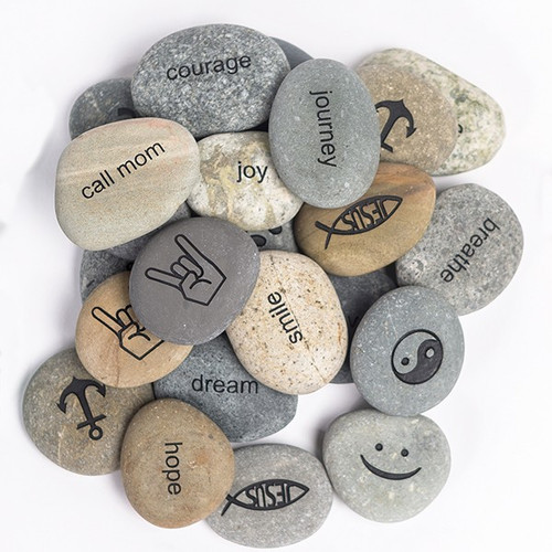"Beach Pebble Stone engraved ""Wish"""