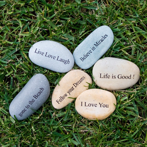 """Mini Stone engraved """"I love you to the moon and back."""""""