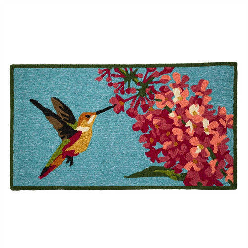 Indoor Outdoor Hummingbird Hooked Rug