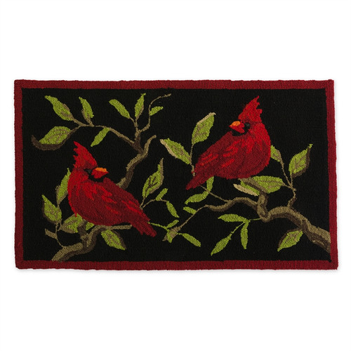 Indoor Outdoor Cardinal hooked Rug.