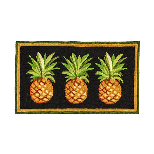 Hooked Rug with Pineapples