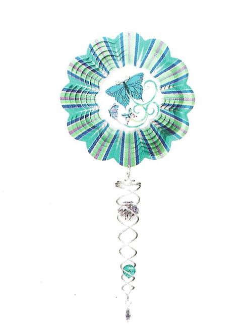 Blue butterfly mini set wind spinner