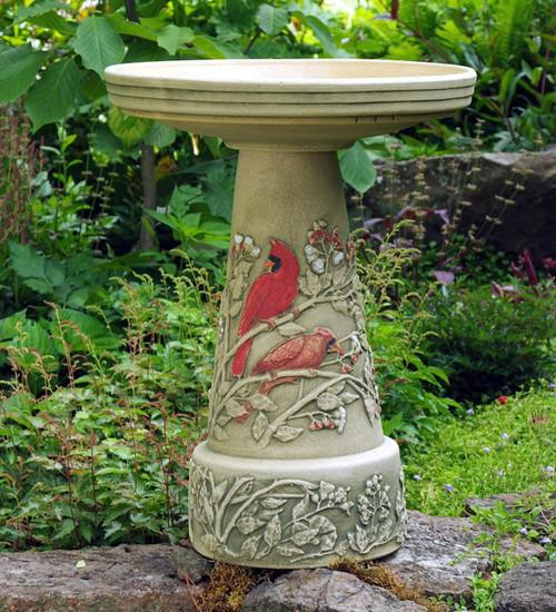 Summer cardinal birdbath pedestal