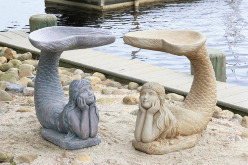 One piece mermaid birdbath