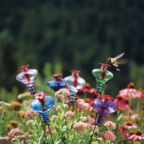 Mini Blossom Hummingbird Feeder on stake