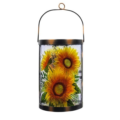 Sunflower Solar Glass Lantern