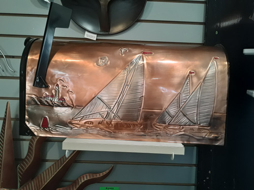 Copper Mailbox Sailboats and lighthouse.