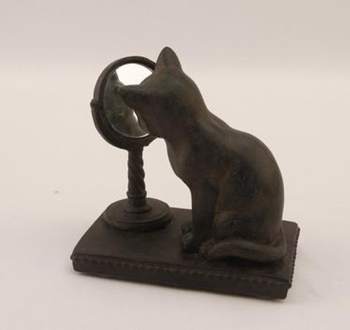 Resin Cat figure with  mirror