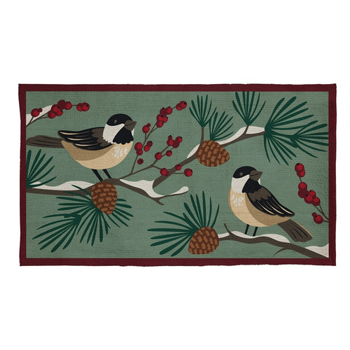 Bird and Pinecone Hooked Rug
