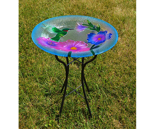 Glass Hummingbird bird bath with stand