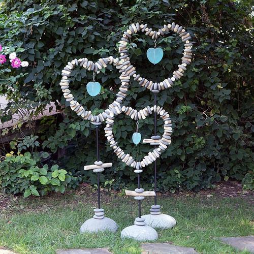 Heart Garden Stand With Glass heart