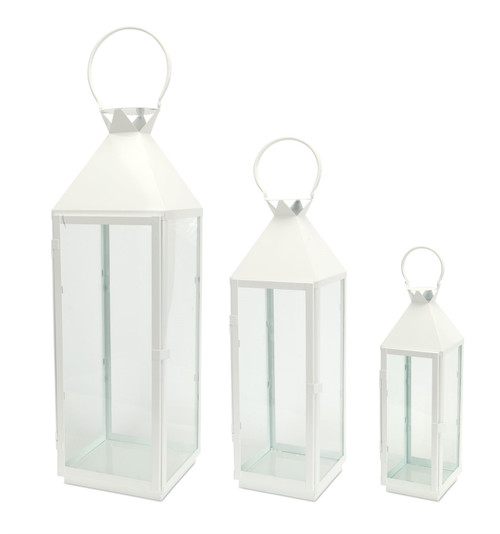 White Metal Lantern Large