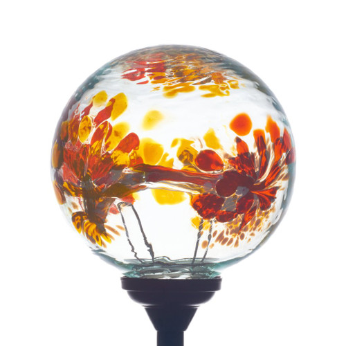 Webbed globe solar lighting orange