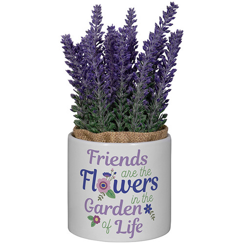 Friends Planter with Artificial Flowers