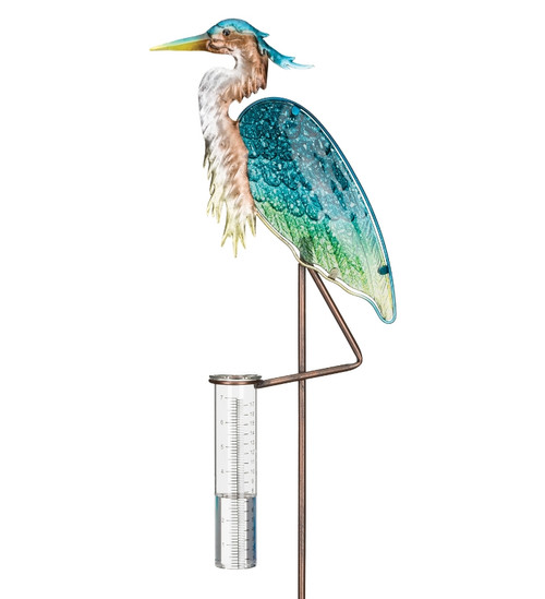 Heron Rain gauge garden stake