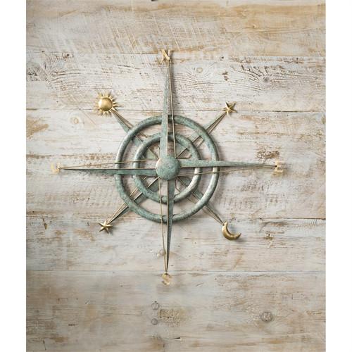 Verdigris Metal Compass Wall Art