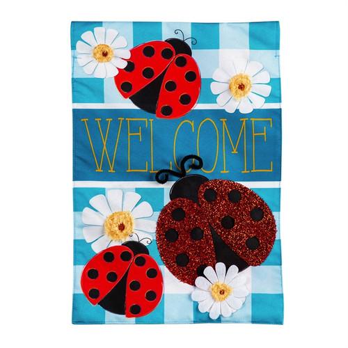 Ladybug Plaid Welcome House Flag