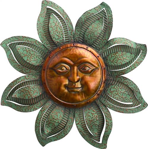 Metal textured sun face