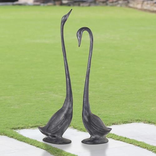 Pair of swan sweeties garden sculptures