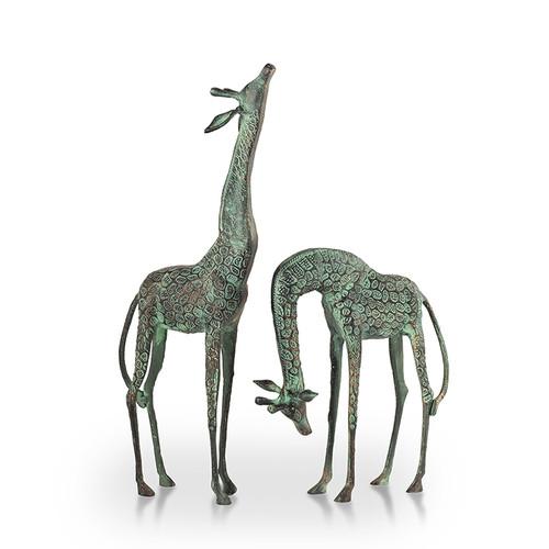 Set of two treetopper giraffes garden scultures