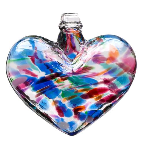 "Multi Colored Hand Blown 3"" Glass Heart"