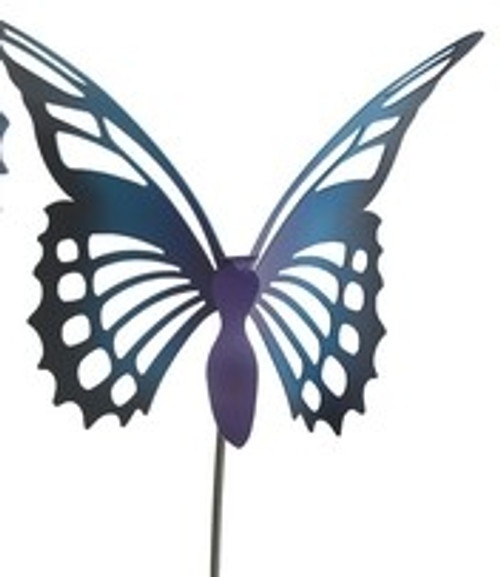Ulysses Butterfly Garden Stake Blue and Purple