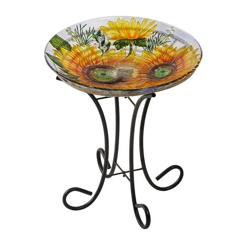 Solar sunflower birdbath with stand