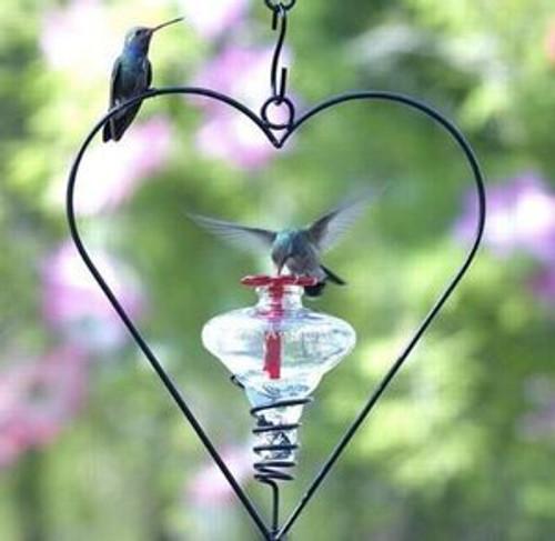 Mini Blossom on heart hanger, humming bird feeder