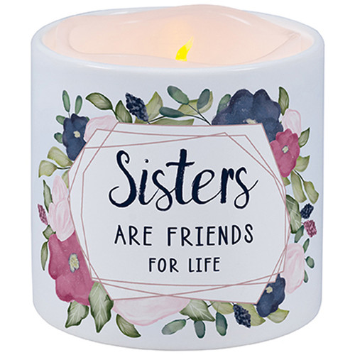 """LED candle """"Sisters are friends for life"""""""