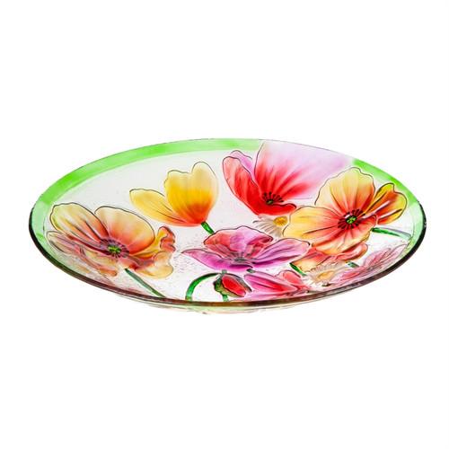 Poppies Glass Birdbath
