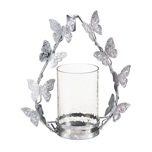 Silver Metallic Butterfly Candle Holder