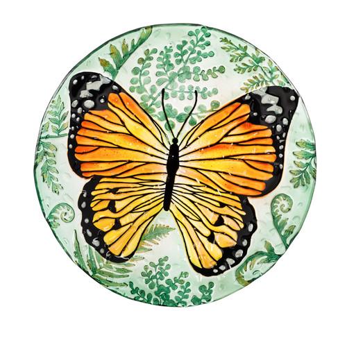 Monarch Butterfly Glass Birdbath