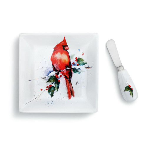 Cardinal and Holly Plate and Spoon