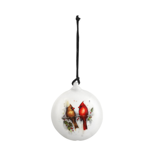Two Cardinals & Holly Disc Ornament