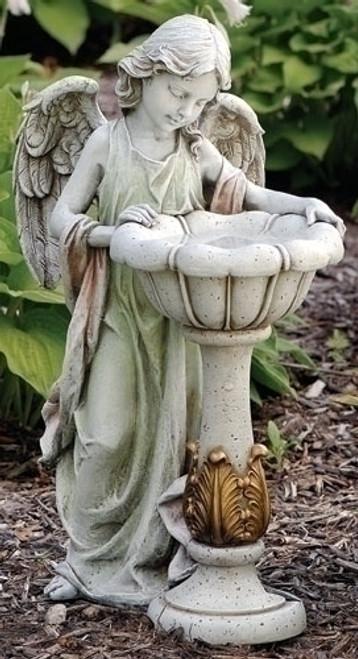 Girl Angel Solar Birdbath