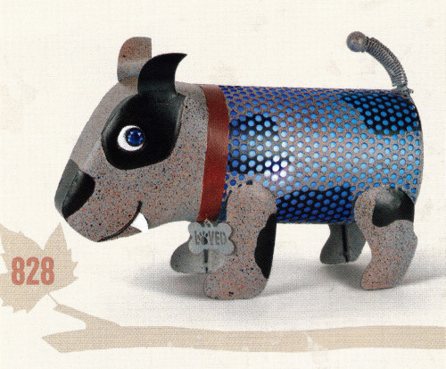 Solar Lighted Metal Spotted Dog