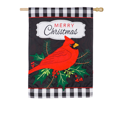 Merry Christmas Flag Cardinal